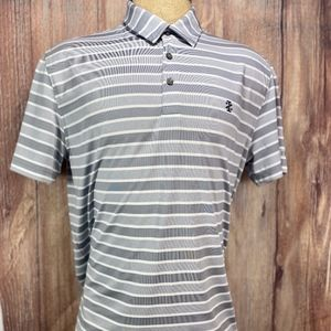 IZOD Golf Polo Gray and White Striped Short Sleeve
